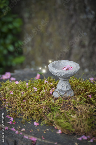 Canvas Betoverde Bos Fairy bird bath with pink flowers and sparks of light