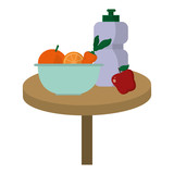delicious fruits with vegetable inside bowl and bottle water in the table