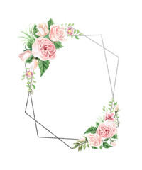 Watercolor Floral Geometric Frame © aves