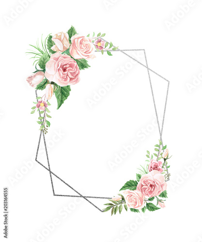 Sticker Watercolor Floral Geometric Frame