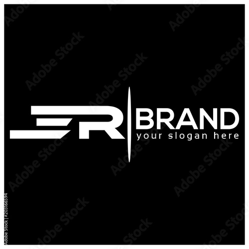 Letter E and R on White background. logo has the impression fast and reliable. Logo Design Template.