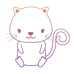 cute cat icon over white background, colorful design. vector illustration