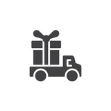 Delivery truck with gift box vector icon. filled flat sign for mobile concept and web design. Fast delivery simple solid icon. Symbol, logo illustration. Pixel perfect vector graphics