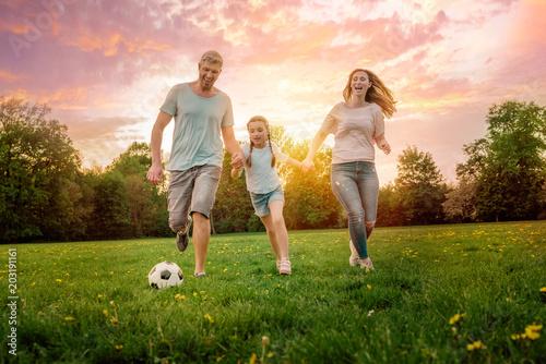 canvas print picture Familie spielt Fußball