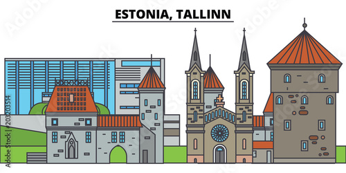Estonia, Tallinn. City skyline, architecture, buildings, streets, silhouette, landscape, panorama, landmarks, icons. Editable strokes. Flat design line vector illustration concept - 203203514