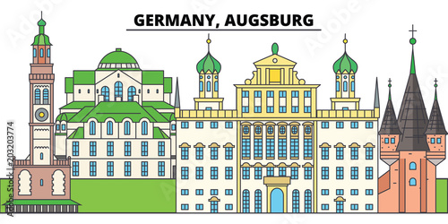 Germany, Augsburg. City skyline, architecture, buildings, streets, silhouette, landscape, panorama, landmarks, icons. Editable strokes. Flat design line vector illustration concept - 203203774