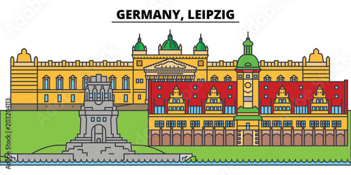 Germany, Leipzig. City skyline, architecture, buildings, streets, silhouette, landscape, panorama, landmarks, icons. Editable strokes. Flat design line vector illustration concept - 203204113