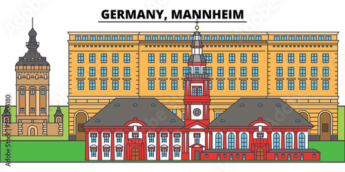 Germany, Mannheim. City skyline, architecture, buildings, streets, silhouette, landscape, panorama, landmarks, icons. Editable strokes. Flat design line vector illustration concept - 203204180