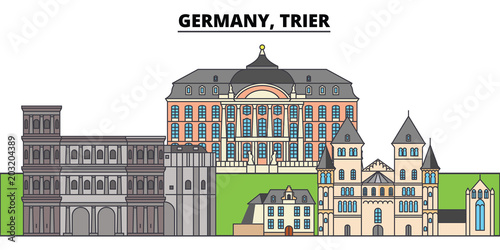 Germany, Trier. City skyline, architecture, buildings, streets, silhouette, landscape, panorama, landmarks, icons. Editable strokes. Flat design line vector illustration concept - 203204389