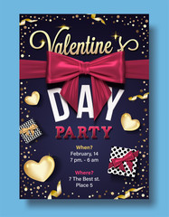Valentines Day Party Flyer with golden heart, gift box, realistic bow, confetti and serpentine. eps10 vector