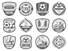 Football Or Soccer League Heraldic Shield Badge Sticker