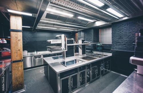Kitchen scene of luxury restaurant.
