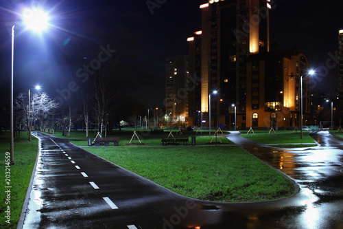 Fotobehang Zwart Landscape of a big city at night with lights and high-rise buildings. Moscow, Russia, Rostokino district