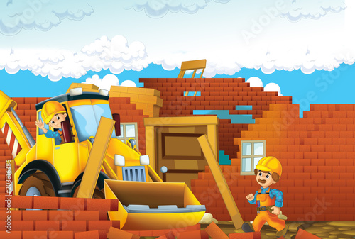 cartoon scene with men working doing industrial jobs - illustration for children - 203216386