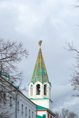 Bell tower of the Front Gate in Kolomenskoye, ancient architectural landmark of Moscow