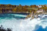 The Rhine Falls near Zurich at Indian summer, waterfall in Switzerland