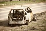 Body of the burnt car in the street. - 203229566