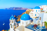 View of Oia the most beautiful village of Santorini island in Greece. - 203238399