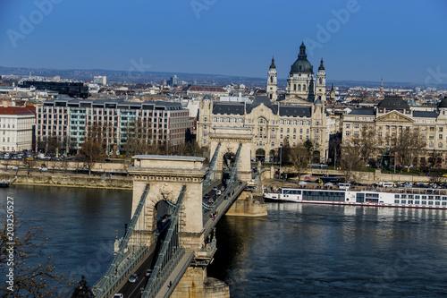 Canvas Boedapest hungary, budapest, chain bridge