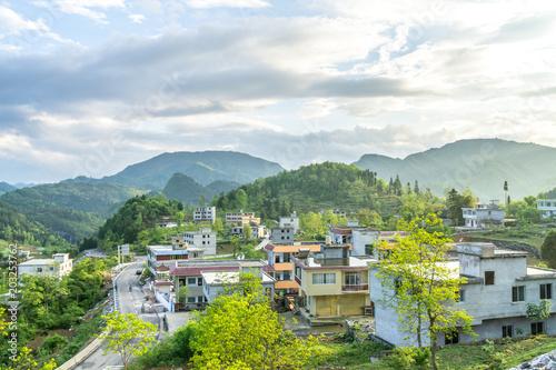 Fotobehang Blauwe hemel landscape in mountain