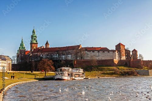 Aluminium Krakau Wawel hill with royal castle in Krakow