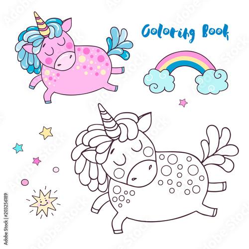 Vector illustration of cute magic pink unicorn