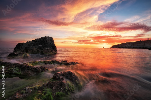Fotobehang Aubergine Beautiful summer landscape with sunset, colorful sky and sea. Composition of nature