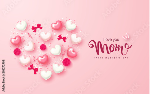 Happy Mothers Day greeting card design with hearts, bows, roses and serpentine. Design layout for invitation, greeting card, ad, promotion, banner, poster, voucher. Vector Illustration. © liliya398