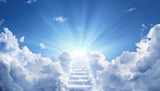 Fototapeta Na sufit - Stairway Leading Up To Heavenly Sky Toward The Light 