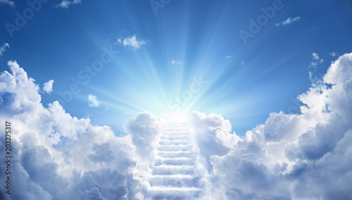 Fototapeta Stairway Leading Up To Heavenly Sky Toward The Light