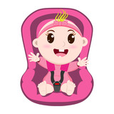 Vector illustration of a cute baby girl wearing a seat belt in the car! Safety concept.