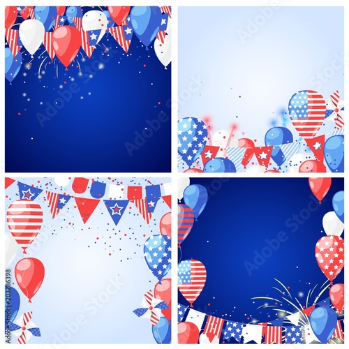 Set of USA holiday vector backgrounds and frames. 4 of July USA Independence Day greeting card or banner template