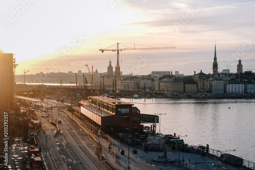 Plexiglas Stockholm Scenic sunset on Stcokholm, the beauty of Sweden