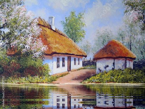 Oil paintings rural landscape. Fine art. - 203309752