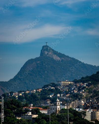 Fotobehang Blauwe jeans Christ Rio de Janeiro