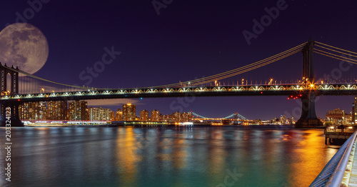 Canvas Brooklyn Bridge Panorama of Manhattan Bridge in New York City at night