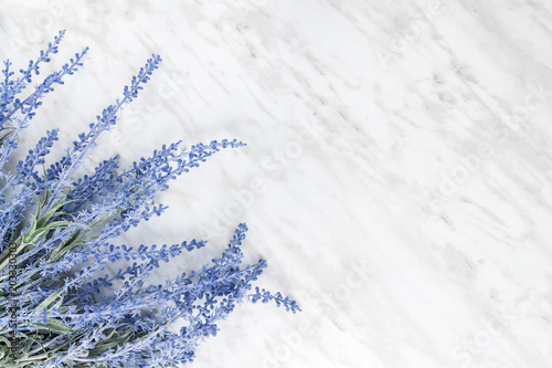 Blooming lavender on marble background with copy space