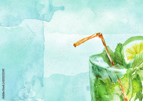 Watercolor drawing - cocktail of fruits, circe, lemon slice, lime, mint, ice. Cool drink with ice. Watercolor card, greeting card of blue, abstract spot. Splash, bright streaks of paint.  - 203333341