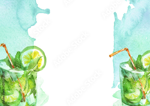 Watercolor drawing - cocktail of fruits, circe, lemon slice, lime, mint, ice. Cool drink with ice. Watercolor card, greeting card of blue, abstract spot. Splash, bright streaks of paint.  - 203333368