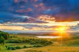 Rural summer landscape at sunset - 203334967
