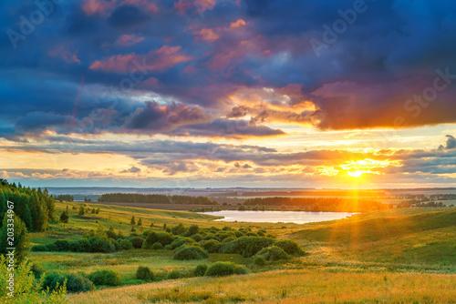 Aluminium Nachtblauw Rural summer landscape at sunset