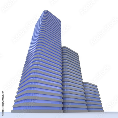 modern design skyscrapers on a white background 3d illustration