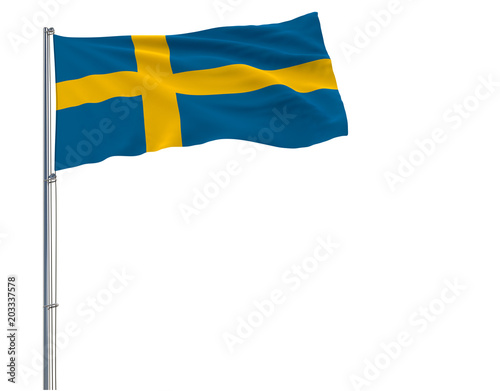 Isolate flag of Sweden on a flagpole fluttering in the wind on a white background, 3d rendering.