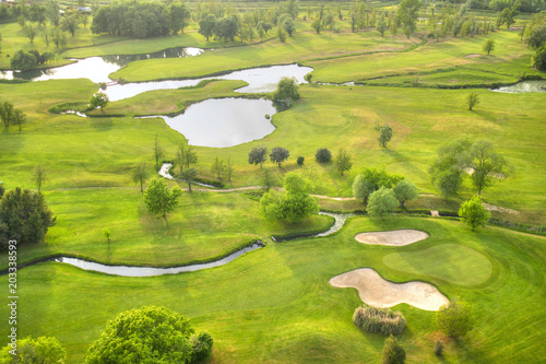 Top view of a golf course