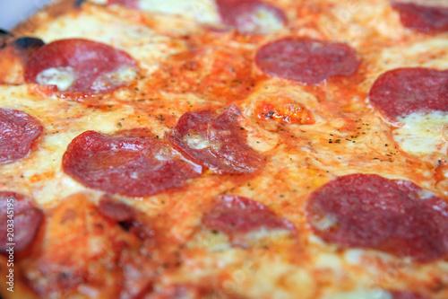 Plexiglas Pizzeria Fresh italian Pizza with Salami, Tomato and Cheese
