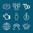 Set of 9 signs outline icons