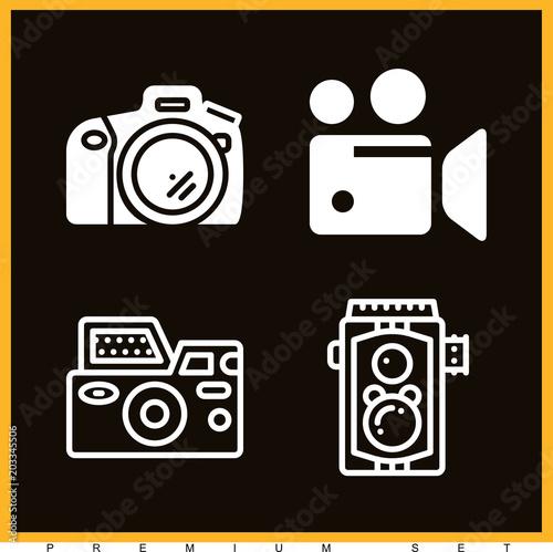 Fototapeta Set of 4 camera filled icons