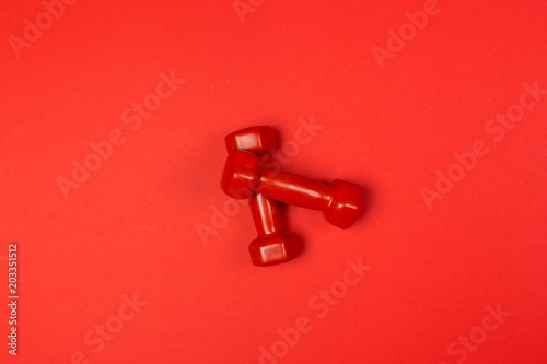 Wall mural dumbbells, fitness concept