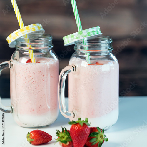 Plexiglas Milkshake Strawberry milkshake in the glass jar