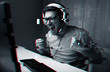 technology, entertainment and people concept - happy young man in eyeglasses with headset playing and winning computer game at home and streaming playthrough or walkthrough video, glitch effect